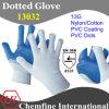 13G белый нейлон / хлопок трикотажные перчатки с голубой ПВХ покрытие & Dots / EN388: 4131