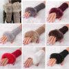 Перчатки Mitten горячей грелки зимы запястья руки руки шерсти кролика Faux женщин Fingerless длинние