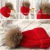 美しい毛皮POM Pomsが付いている最上質の編まれた冬の帽子
