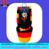 Paint Germany Logo Cast Metal Cow Bell with Embroidered Leather Braid Ribbon