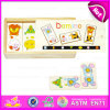 2015 commercio all'ingrosso Custom Cheap Wooden Domino Game Set, Promotion Domino variopinto Set Wholesale, Domino Set Toy in Wooden Box W15A013
