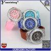 Reloj redondo del cuarzo LED del amante de la dial LED de las mujeres de los hombres de los relojes de manera Yxl-697 de la correa ligera popular del silicón del reloj