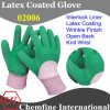 Green Latex Wrinkle Half Coating를 가진 백색 Interlock Glove & Open Back & Knit Wrist