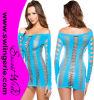 Shoulder Sexy Babydoll Lingerie Dress Z01-Blueを離れた路面の穴Net