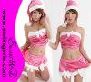 Traje sexy cor-de-rosa T1050 de Santa do Natal