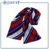 カスタマイズされたロゴの極度の柔らかい文字ポリエステルサテンの縞のスカーフ