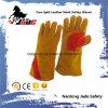 Gant industriel de travail de soudure de sûreté de main de cuir fendu de peau de vache de Brown