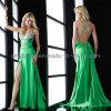 Vestido de noite verde frisado (E004)