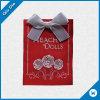 Het rode Geweven Etiket van de Stof voor Doll met Bowknot
