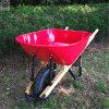 100L頑丈な木のハンドルの一輪車