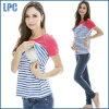Form-Kontrast-Farben-gestreiftes Frauen-Mutterschafts-T-Shirt