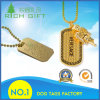 Manufatura feita sob encomenda chapeada Tag do Tag de cão do metal do animal de estimação do exército do ouro com colar