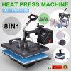 8 em 1 tampão do chapéu da caneca do t-shirt da máquina da imprensa do calor do Sublimation de transferência de Digitas