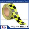 Cinta amonestadora de la seguridad reflexiva adhesiva Checkered fluorescente y negra (C3500-G)