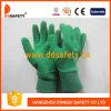 Перчатки покрынные латексом работая Dcl418 перчаток сада хлопка зеленым