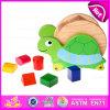 Cubo de madeira do brinquedo de madeira movente do bloco da forma da tartaruga, blocos educacionais da forma que combinam o brinquedo de madeira W12D032 do bloco