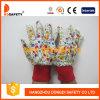 Перчатки сада. Белый хлопок. Картина цветка. Красное запястье руки Knit. (DGK518)