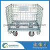 Cestino durevole della rete metallica del metallo pieghevole con le rotelle