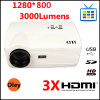 Горячий 1280*800 USB входного сигнала репроектора 3 HDMI (репроектор H3 3 HDMI)