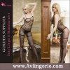 Sheer Polka DOT Crotchless Bodystocking des femmes avec Suspender Look (KK02-033)