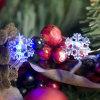 Azul estrelado feericamente da decoração do Xmas da luz da corda de controle remoto dos flocos de neve do diodo emissor de luz do fio de cobre