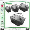 Черная корзина для товаров ячеистой сети металла