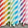 Party rayado Paper Straws para el banquete de boda Drinking Supplies