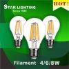 do filamento de vidro do diodo emissor de luz de 100lm/W 4W 6W 8W ampola