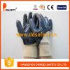 La fodera del cotone ricoperta nitrile blu aperta indietro lavora a maglia il guanto Dcn306 del lavoro della manopola