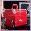 Caja de cuero acolchada roja de la belleza de la vendimia de la PU (SACMC013)