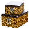 シマウマ/ヒョウの印刷のホーム/Officeの文房具のスナップのペーパー記憶のFoldableボックス