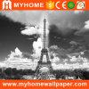 Pinturas murais decorativas do papel de parede do PVC da torre Eiffel da opinião da cidade