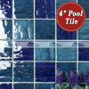 4  x4  Wave Pattern Porcelain Swimming Pool Tile Blue (BCP004)