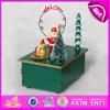 2015 Nueva caja de música de madera para el regalo en venta caliente, diseño único Niños caja de música de madera, juguete de madera de música de carrusel de niños W07b018A