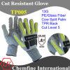13G ПЭ / стекловолокна трикотажные перчатки с Корова Сплит кожа Палм & TPR Назад / EN388: 4544