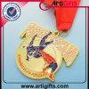Kundenspezifische zugesprochene goldene Medaille mit Farbband