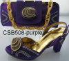 Italia Fashion Lady High Shoes con Hangbag Csb508-Purple
