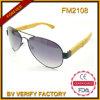 Óculos de sol de bambu do templo do frame novo do metal do projeto FM2108