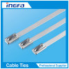100PCS 4.6mmx300mm acero inoxidable Zip uniones de cable de bloqueo Brida