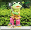 RoHS a passé l'ornement de jardinage de jardin de grenouille de résine (NF14127-1)