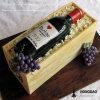 Rectángulo de madera del vino del estilo de Hongdao de los accesorios retros del metal para Gift_I
