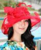 3 camadas Sinamay Organza Church Hats de Red Color Match com Dress