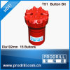 Drilling를 위한 T51-102mm 15 Button Bits Face Flat Thread Bit