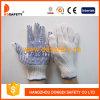 Хлопок отбеливателя/PVC перчатки Knit шнура полиэфира голубой ставят точки одна сторона (DKP150)