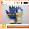 Перчатка Dkl326 работы латекса желтой раковины T/C голубая