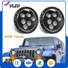 l'angolo del fascio +DRL di 60W 7inch Hi/Lo Eyes il faro del Wrangler della jeep del LED con il PUNTINO, E-MARK, Ce approvato