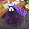 Bille de Pompoms de fourrure de lapin de Fox Rex avec le trousseau de clés de porte-clés de Karlito pour le pendant de véhicule de portable du sac des femmes
