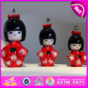 2015 Tranditional Folk Crafts Cute Doll japonais, Hot Sell Custom Design Dolls en bois, Kimono Dolls en bois pour la décoration W06D070A