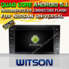 Carro DVD GPS do Android 5.1 de Witson para Nissan universal com sustentação do Internet DVR da ROM WiFi 3G do chipset 1080P 16g (A5589)