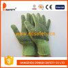 Knit vert lourd de chaîne de caractères. Le PVC noir de gants pointille les deux côtés (DKP206)